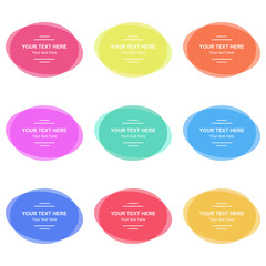 Set of vector colorful round banners. Abstract vector shapes for design with sample text