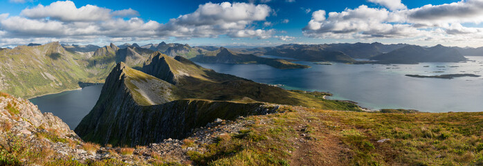 Panoramic View from Husfjellet Mountain on Senja Island, Norway