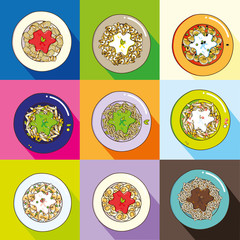 Colorful pasta plates set: a collection of the typical italian dishes as tomato sauces, pesto, carbonara, bolognese sauce fettuccine, alfredo cheese macaroni. Vector, long shadows, colored background