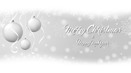 Vector Christmas balls on snow background.