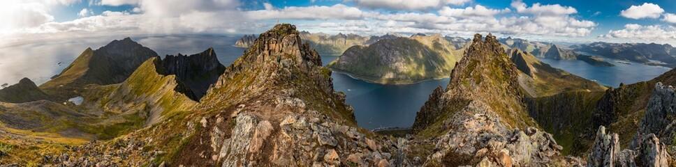 Panoramic View from Husfjellet Mountain on Senja Island, Norway
