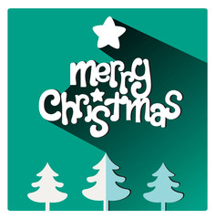 Merry Christmas flat lettering design greetings card. Long Shadow on green background, christmas trees on the footer, vector illustration