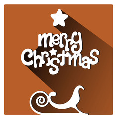 Merry Christmas flat lettering design greetings card. Long Shadow on orange warm background, christmas sleigh on the footer, vector image
