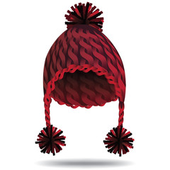 Warm cable knit cozy Christmas hat with ear flaps and pompons in red.