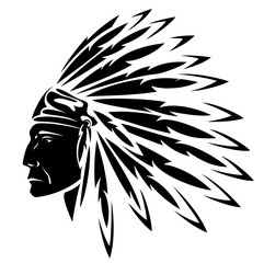 North American Indian chief - vector illustration
