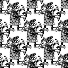 Seamless mayan and aztec totems pattern
