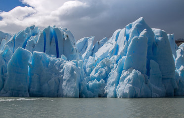 Closeup view of Grey Glacier icebergs, Torres del Paine, Patagonia, Chile. Due to climate change glaciers all over the world are melting faster.