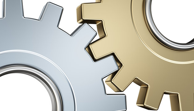 Two gears isolated on a white background. 3d render illustration