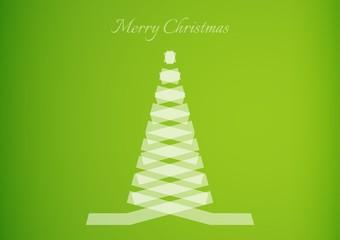 semi transparent ribbon creating a christmas tree