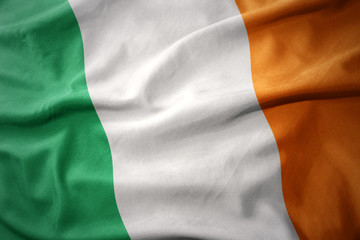 waving national flag of ireland