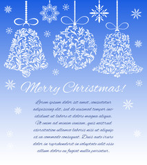 Christmas decorations (ball and bells) from a floral ornament on a blue background with snowflakes. There is a place for text