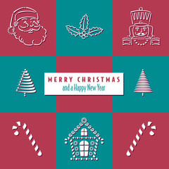 Christmas background with an assortment of holiday items
