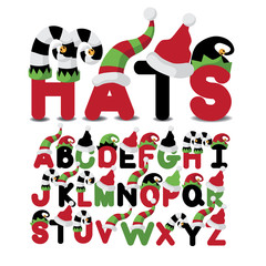 Hats uppercase alphabet a through z EPS 10 vector illustration