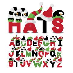 Hats uppercase alphabet a through z EPS 10 vector illustration