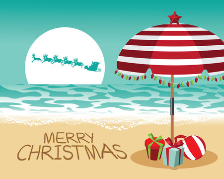 Merry Christmas in a warm climate design. Santa Claus delivers gifts over a Beach umbrella with Christmas lights and Christmas gifts. EPS 10 vector.