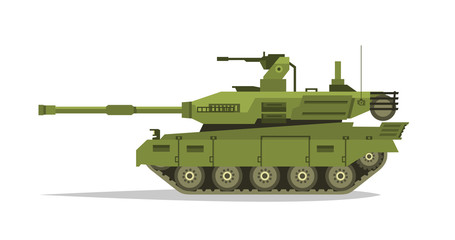 Military tank. Heavy Equipment. Armored Corps. A lot of iron. Cannon, optical review submachine gun, shells. Tracked vehicles. Equipment for the war. The attack on the enemy. Vector illustration