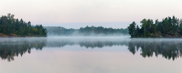 Panorama of morning lake