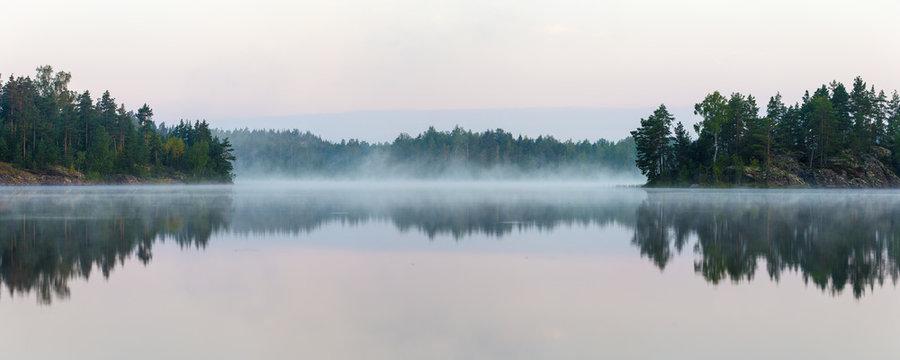 Panorama of morning lake