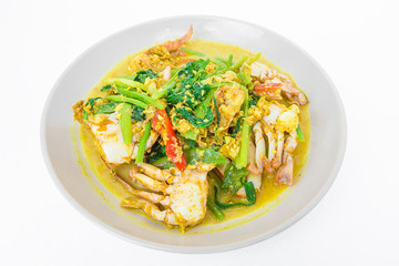 Fried crab with curry powder. thai food