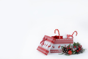 Christmas gift on a white background with space for text