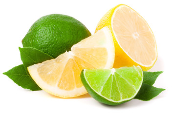 lime and lemon with leaves isolated on white background