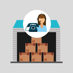 call centre woman working storage package vector illustration eps 10