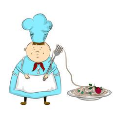 Повар, спагетти вектор
