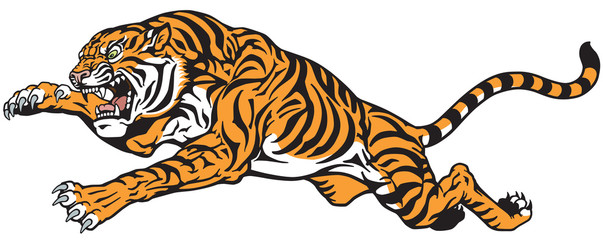 Tiger jump tattoo vector