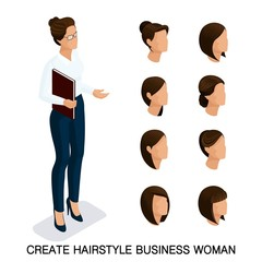 Trendy isometric set 4, women's hairstyles. Young business woman, hairstyle, hair color, isolated. Create an image of the modern business woman. Vector illustration