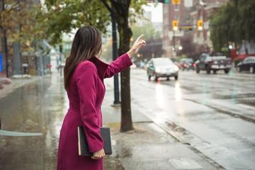 Businesswoman hailing a taxi cab