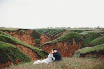 Newlyweds and beautiful landscape