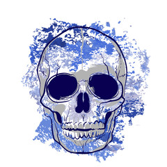 эскиз красочный череп татуировка