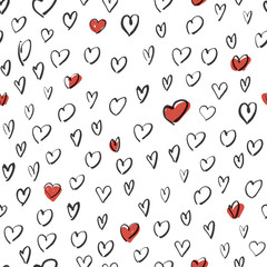 Hand Drawn Hearts Background. Seamless Vector Pattern.