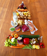 Food pyramid on wooden table
