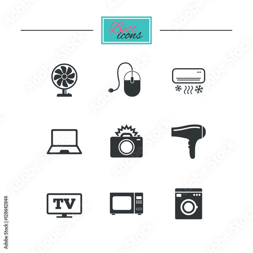 Home appliances device icons electronics signs air Classic home appliance films