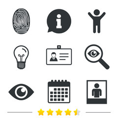 Identity ID card badge icons. Eye and fingerprint symbols. Authentication signs. Photo frame with human person. Information, light bulb and calendar icons. Investigate magnifier. Vector
