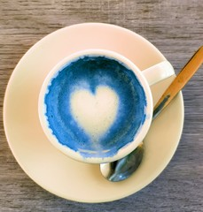 café coeur amour bleu