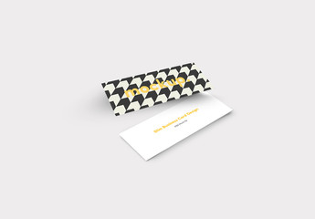 Slim Style Business Card with Arrow Pattern Mockup