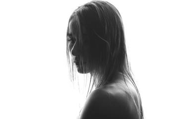 Fashion art studio portrait of elegant naked lady