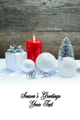 holiday background card with blank space for season's greetings message text with christmas new year decoration