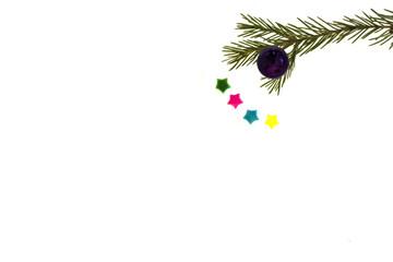 Открытка на рождество и Новый год с ветками ели