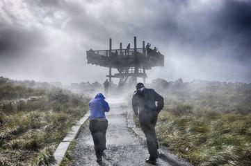 Storm watchers at the Oregon coast