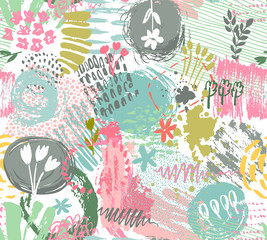 Seamless pattern with hand drawn abstract ink texture