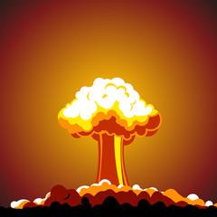 Cartoon Nuclear explosion, vector illustration