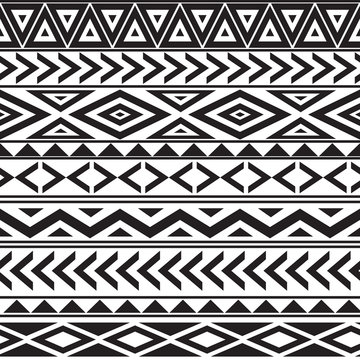 black and white geometric seamless pattern ethnic style
