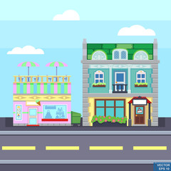 Small town urban landscape in flat design style, vector illustration. buildings, street ice cream shop, coffee cafe