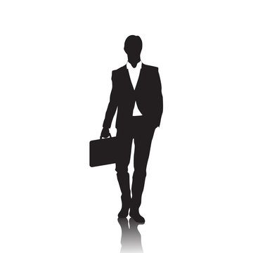 Business Man Black Silhouette Standing Full Length Over White Background Hold Briefcase Vector Illustration