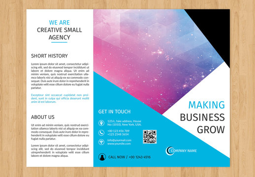 Business Brochure Layout with Blue Diagonal Borders 1