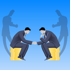 Tough negotiations business concept. Confident businessmen sitting on stacks of gold coins and shaking each other hands, but their shadows are ready to fight.