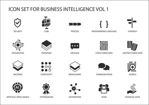 Business intelligence (BI) vector icon set